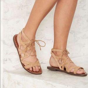 Sam Edelman• tan lace up sandals